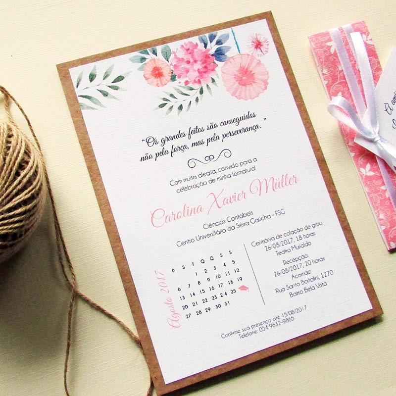 Convite formatura floral
