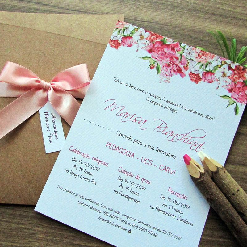 Convite Formatura Jardim