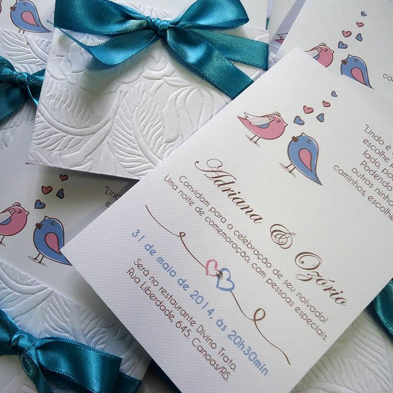 Convite Noivado Birds