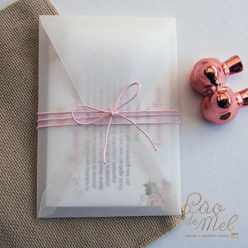 Convite padrinhos sanfona com envelope