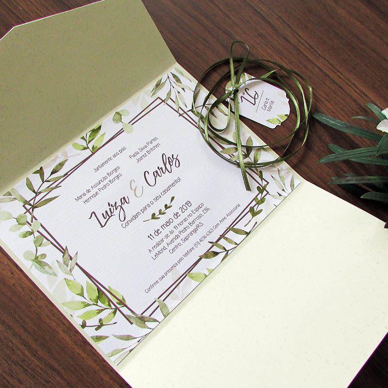 Convite Casamento Carteira Folhagens