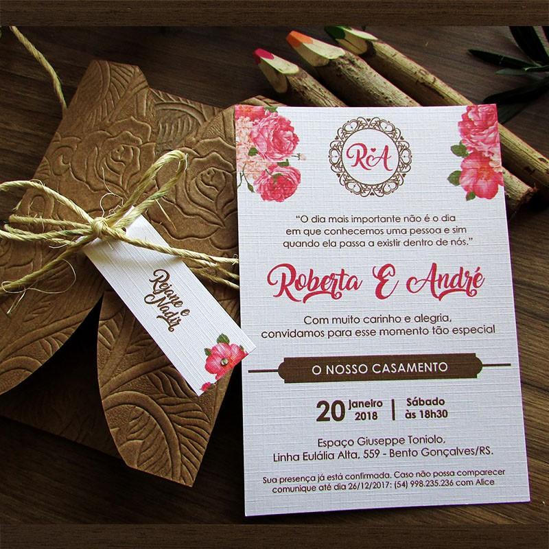 Mini convite casamento Azaléia