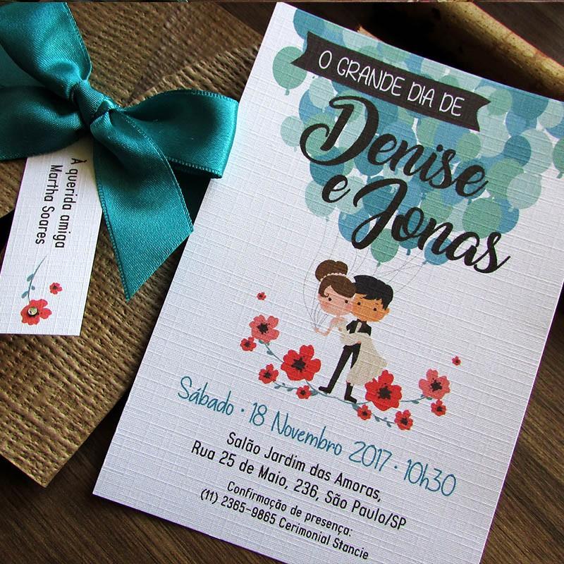 Mini convite casamento Balões