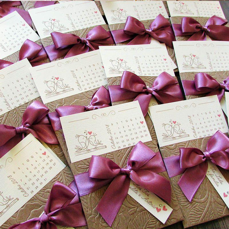 Mini Convite Casamento Calendário