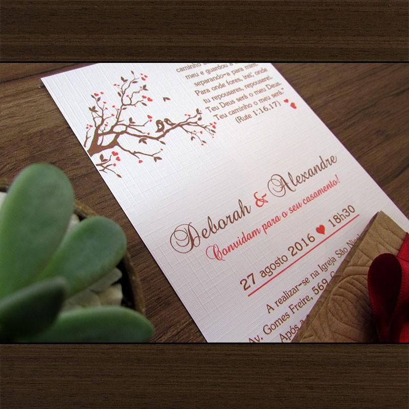 Mini Convite Casamento Corações