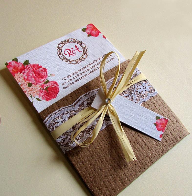 Mini convite casamento com renda