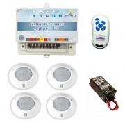 Kit Iluminação 4 Refletores 6W RGB ABS e Central Sonora - Brustec