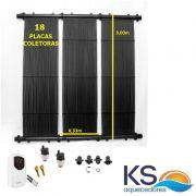 Kit Aquecedor Solar Piscina com 18m² e/ou 25 mil litros TekSol, Controlador Temperatura Bivolt