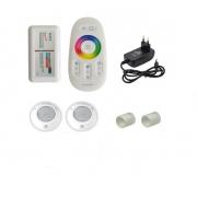Kit Iluminação até 24m² com 2 Refletores Brustec RGB 5W ABS e Central Touch
