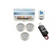 Kit Iluminação 3 Refletores 9W RGB Inox e Central Sonora - Brustec