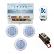Kit Iluminação 3 Refletores RGB Policarbonato 5W e Central Sonora - Brustec