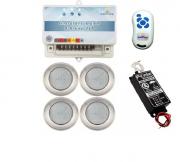 Kit Iluminação 4 Refletores 9W RGB Inox e Central Sonora - Brustec