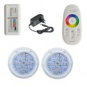 Kit Iluminação até 24m² com 2 Refletores Brustec RGB 5W Policarbonato e Central Touch