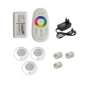 Kit Iluminação até 36m² com 3 Refletores Brustec RGB 5W ABS e Central Touch
