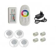 Kit Iluminação até 48m² com 4 Refletores Brustec RGB 5W ABS e Central Touch