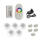 Kit Iluminação até 60m² com 5 Refletores Brustec RGB 5W ABS e Central Touch