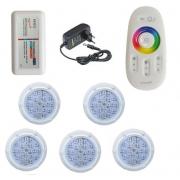 Kit Iluminação até 60m² com 5 Refletores Brustec RGB 5W Policarbonato e Central Touch