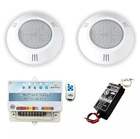 Kit Iluminação 2 Refletores 6W RGB ABS e Central Sonora - Brustec