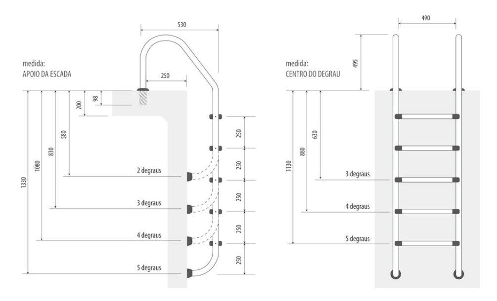 Escada para Piscina Inox 4 degraus - Inaqua