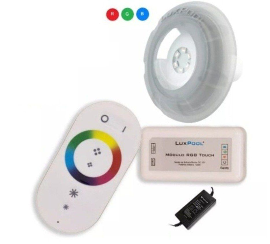 Kit 02 Refletor LED RGB 9W Piscina com até 16m² controle Touch