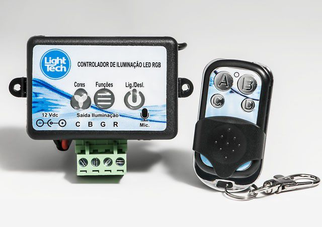 Kit 02 Refletores LED  RGB 4,5W ABS Com Central Rítmica Para Piscinas de Até 20m² Light Tech