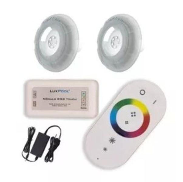 Kit 02 Refletor LED RGB 9W Piscina com até 32m² controle Touch