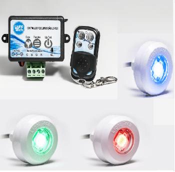 Kit 03 Refletores LED  RGB 4,5W ABS Com Central Rítmica Para Piscinas De Até 30m² Light Tech