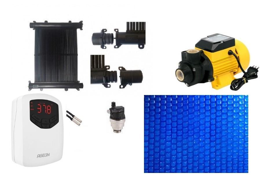 Kit Aquecedor Solar Piscina até 10m² e/ou 14 mil litros - Bomba e Capa