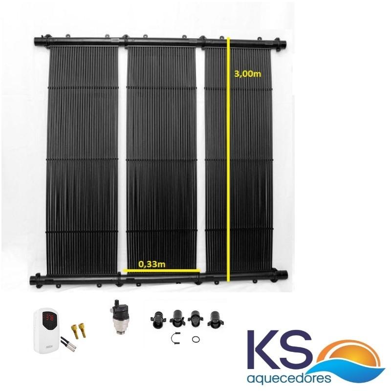 Kit Aquecedor Solar Piscina até 32M² e/ou até 45 MIL LITROS TekSol Controlador Bivolt