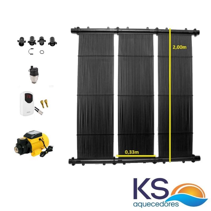 Kit Aquecedor Solar Piscina até  4m² TekSol Controlador Bivolt e bomba 1/2cv