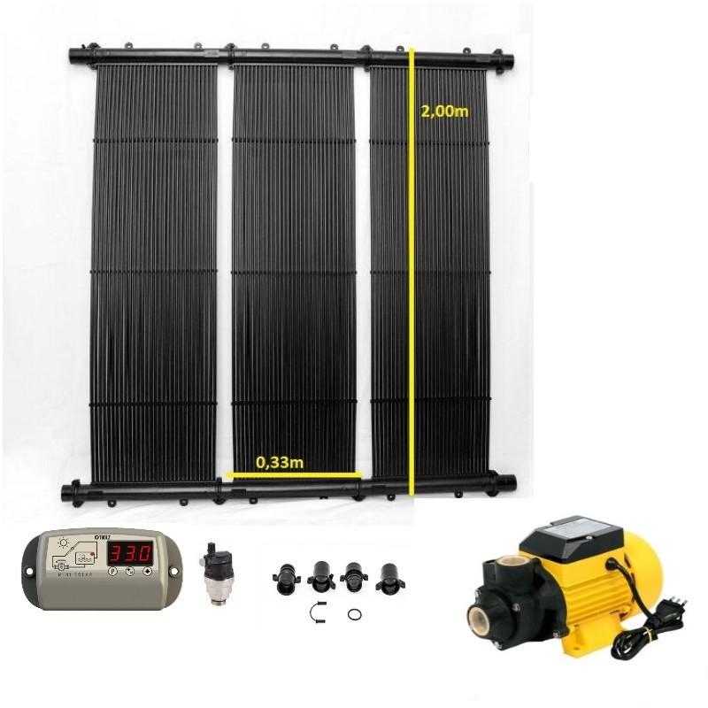 Kit Aquecedor Solar Piscina até  10m² e/ou até 14mil litros  TekSol Controlador Bivolt c/Bomba 1/2cv