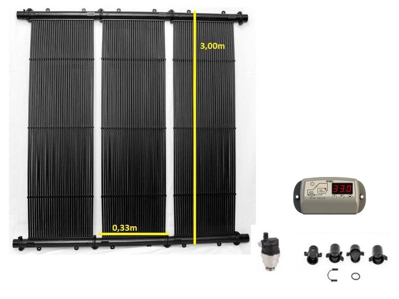 Kit Aquecedor Solar Piscina até 20m² e/ou até 27 mil litors TekSol, Controlador Temperatura Bivolt e capa 20m²
