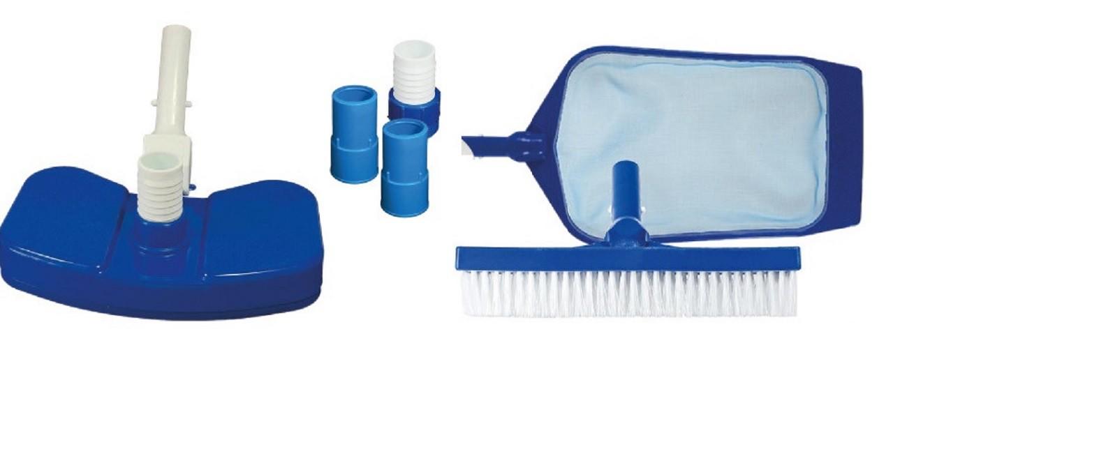 Kit Básico para Limpeza de Piscina Fibra, Alvenaria e Vinil 6 Peças - Brustec