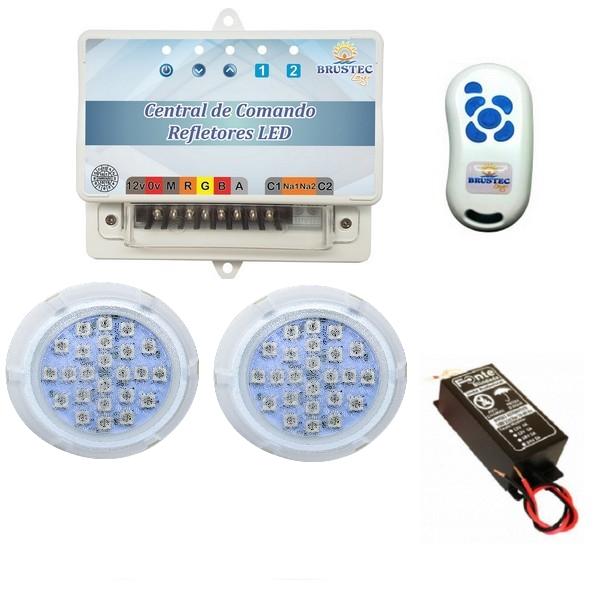 Kit Iluminação 2 Refletores 5W Policarbonato e Central Sonora - Brustec