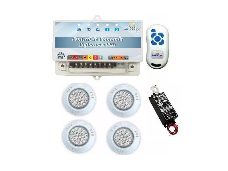 Kit Iluminação 4 Refletores 5W ABS RGB e Central Sonora - Brustec