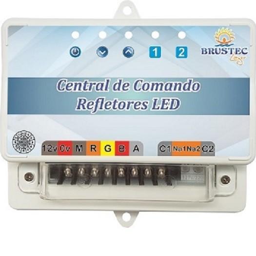 Kit Iluminação 4 Refletores 5W RGB Inox e Central Sonora - Brustec