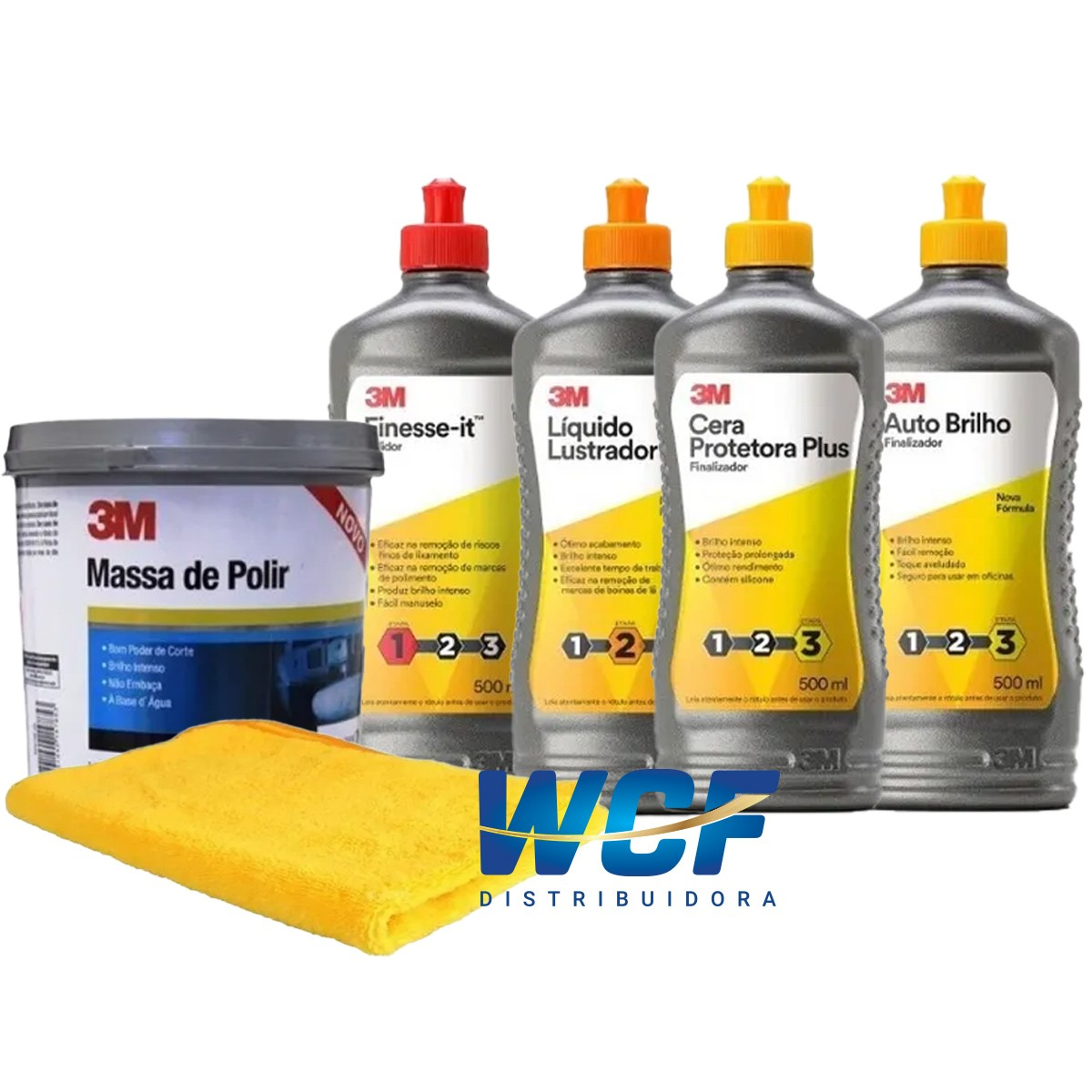 Kit de Polimento 3M - Massa, Finesse, Lustrador, Auto Brilho, cera e flanela