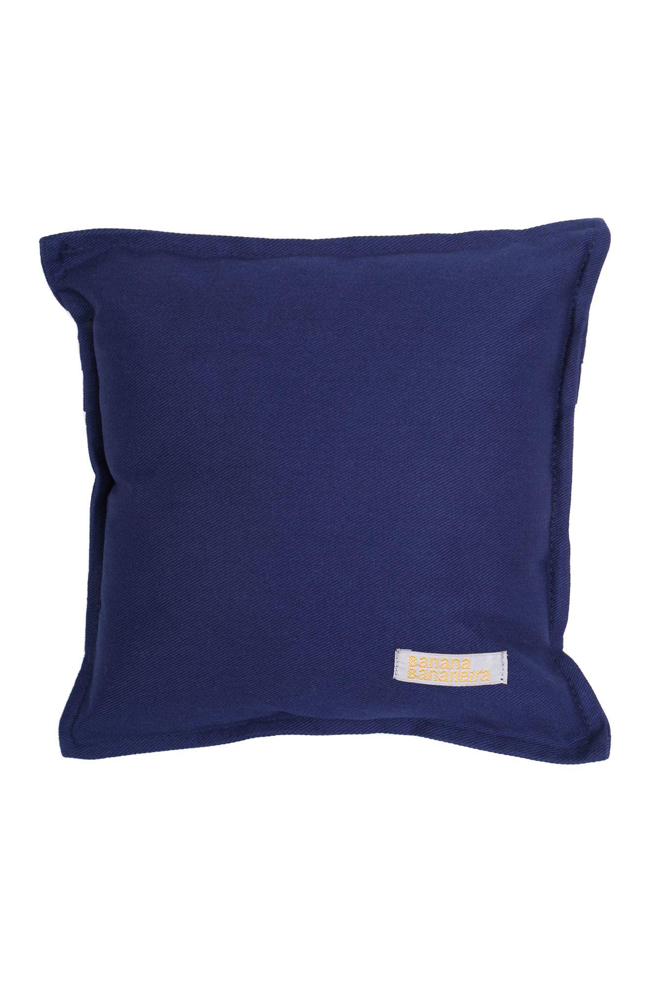 Almofada em pesponto 25 cm x 25 cm azul marinho