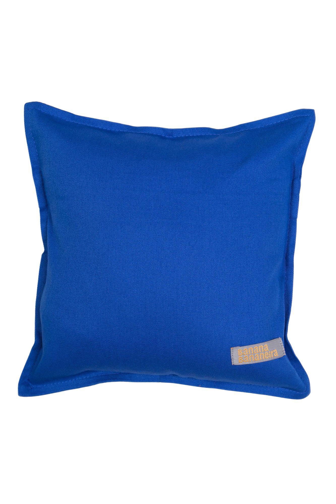 Almofada em pesponto 25 cm x 25 cm azul royal