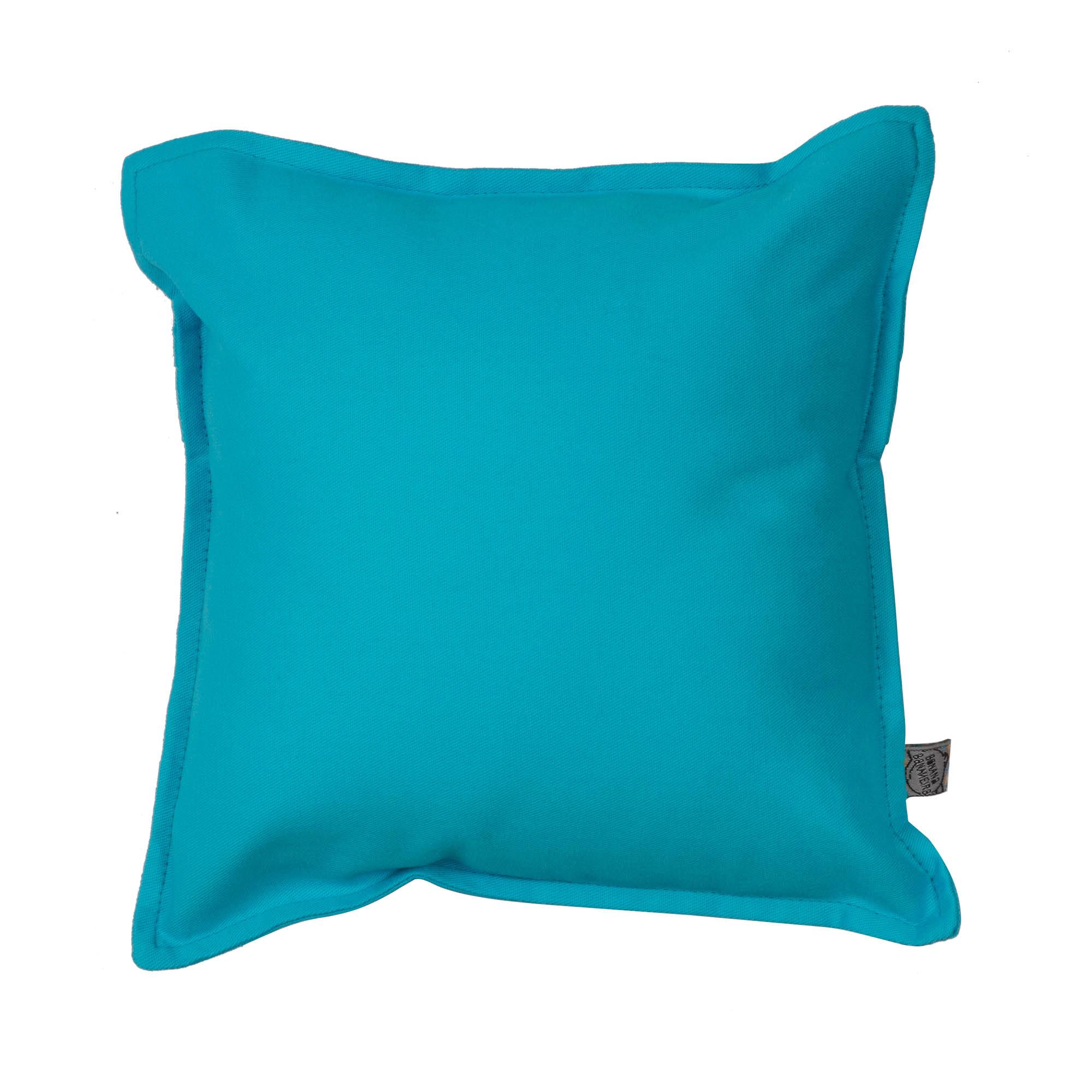 Almofada em pesponto 25 cm x 25 cm azul turquesa