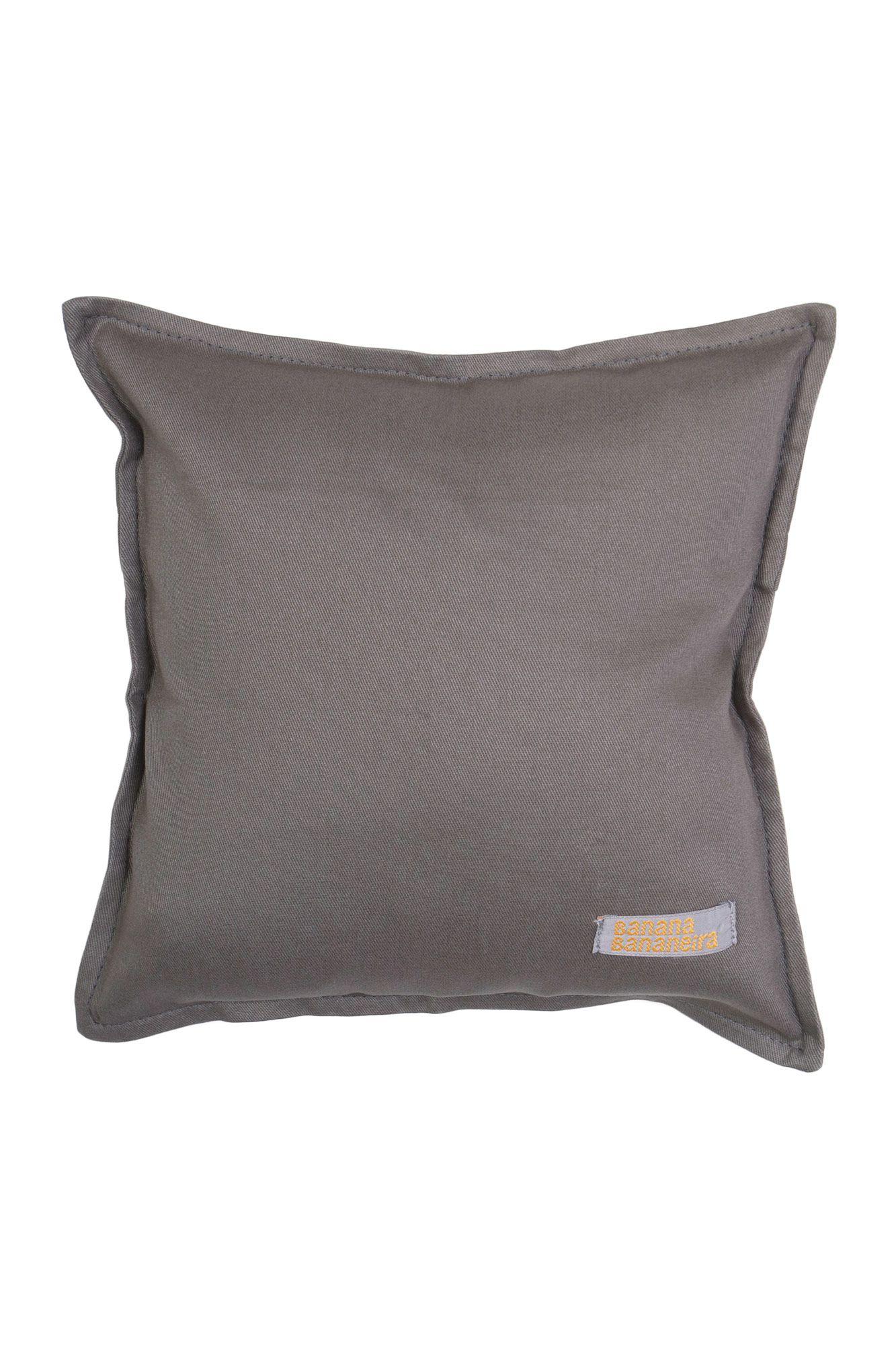 Almofada em pesponto 25 cm x 25 cm cinza
