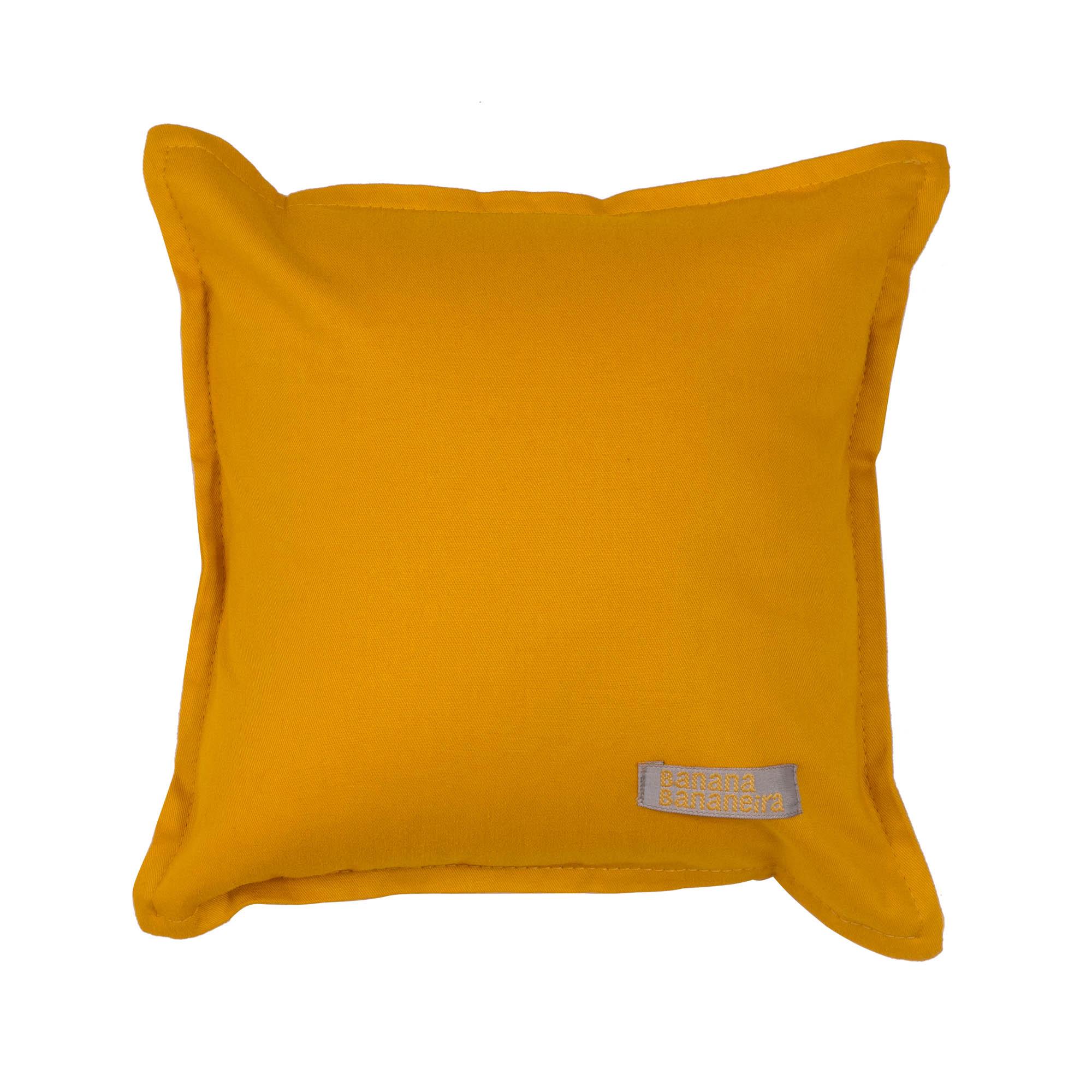 Almofada em pesponto 25 cm x 25 cm mostarda