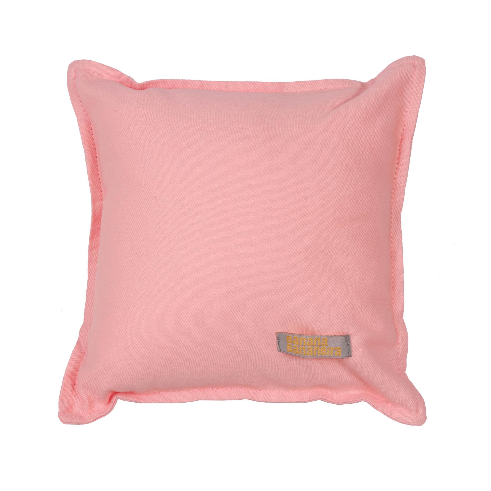 Almofada em pesponto 25 cm x 25 cm rosa algodão doce