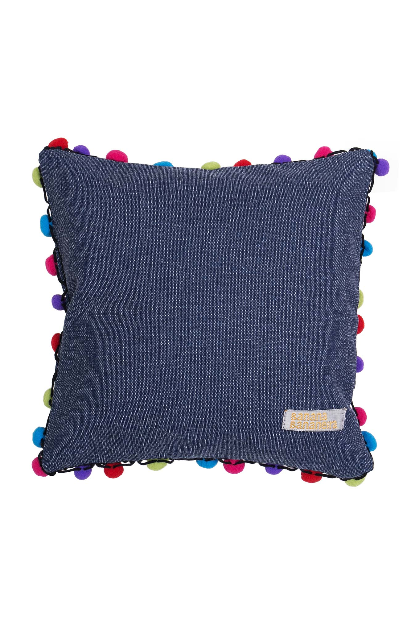 Almofada pompom 25 cm x 25 cm jeans azul