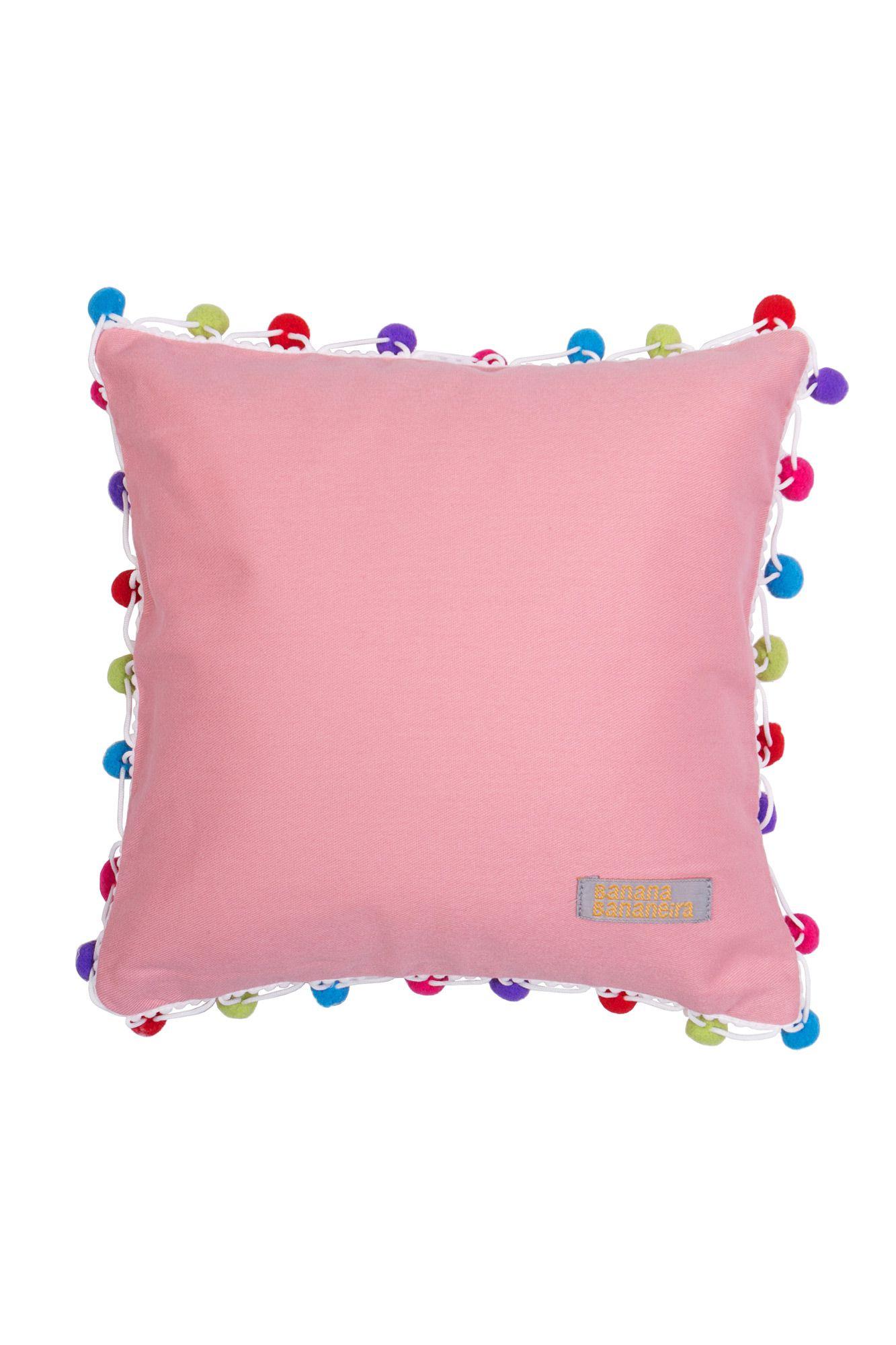 Almofada pompom 25 cm x 25 cm rosa