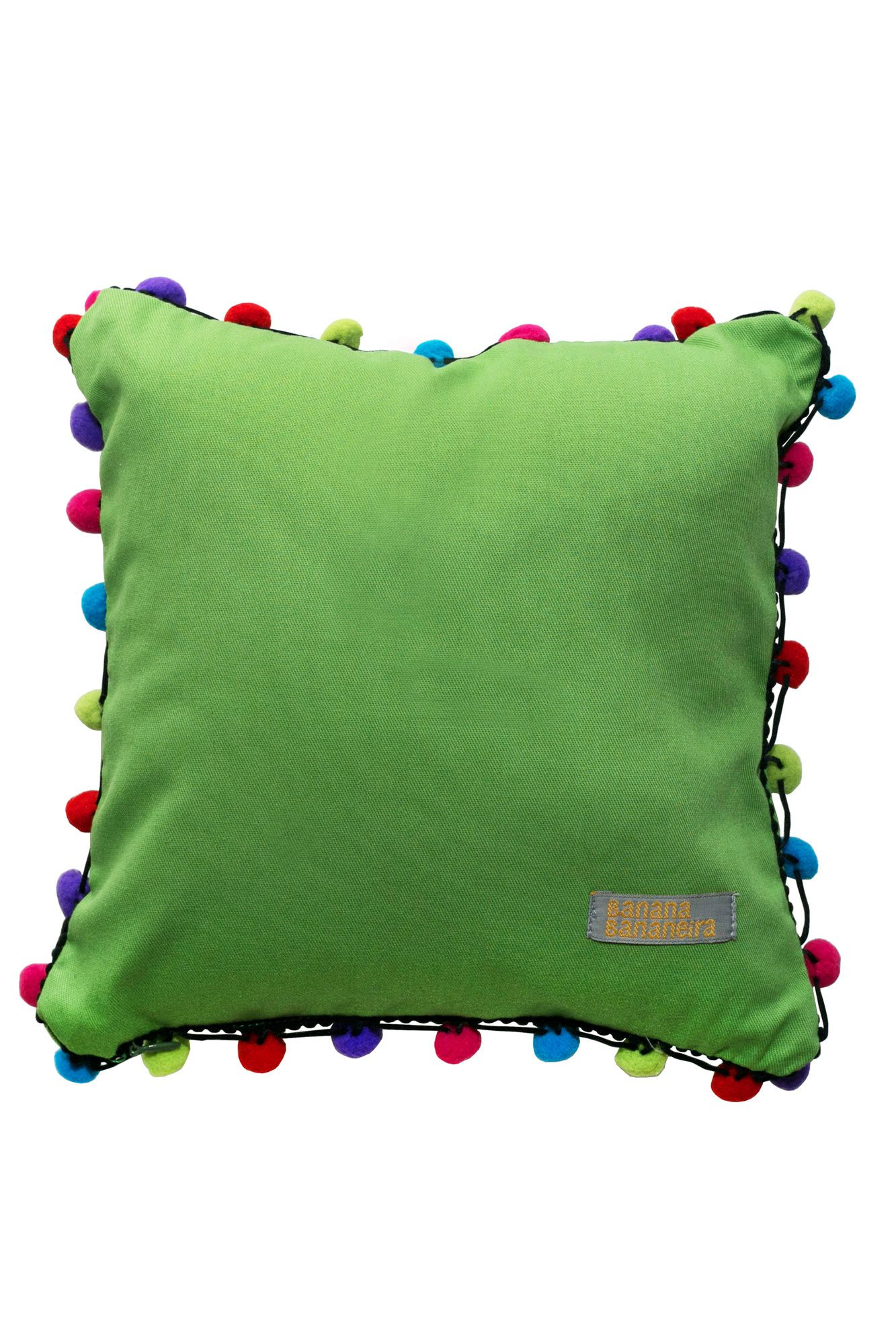 Almofada pompom 25 cm x 25 cm verde
