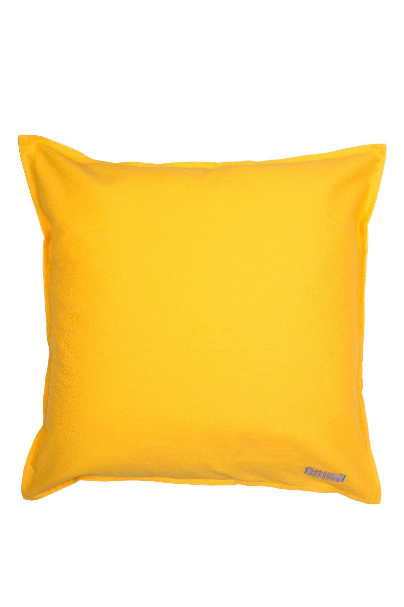 Capa de almofada em pesponto 45 cm x 45 cm amarela