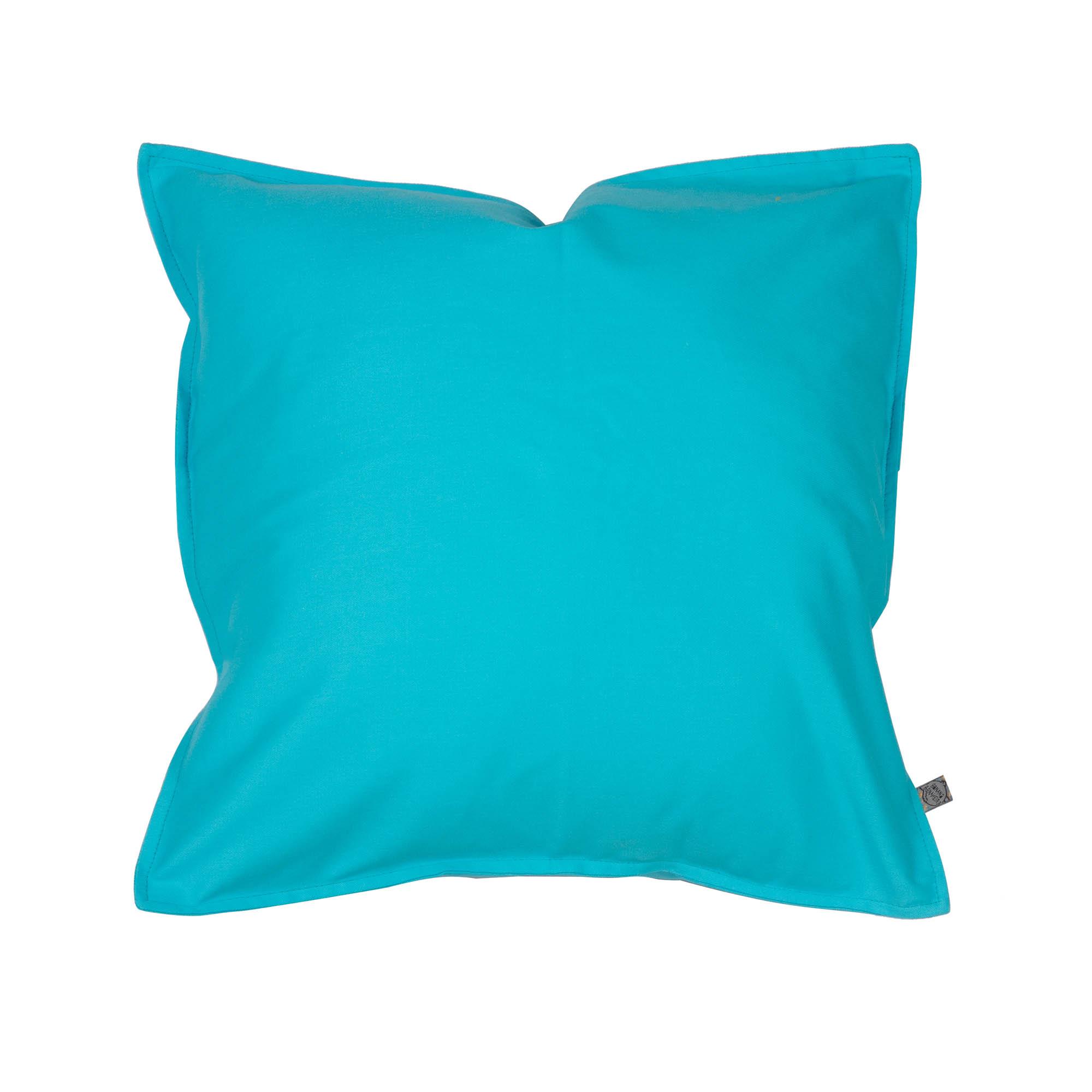 Capa de almofada em pesponto 45 cm x 45 cm azul turquesa