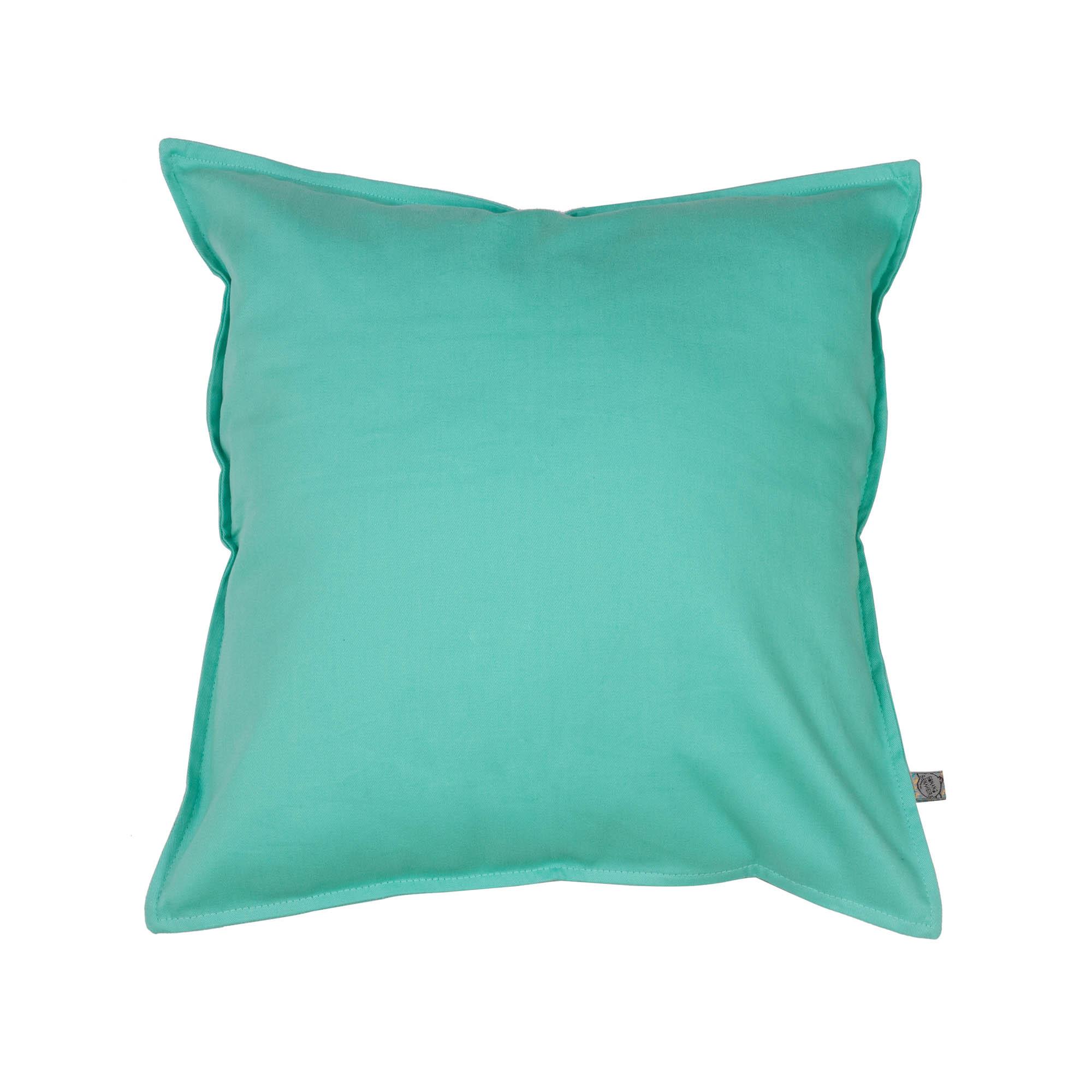 Capa de almofada em pesponto 45 cm x 45 cm verde água