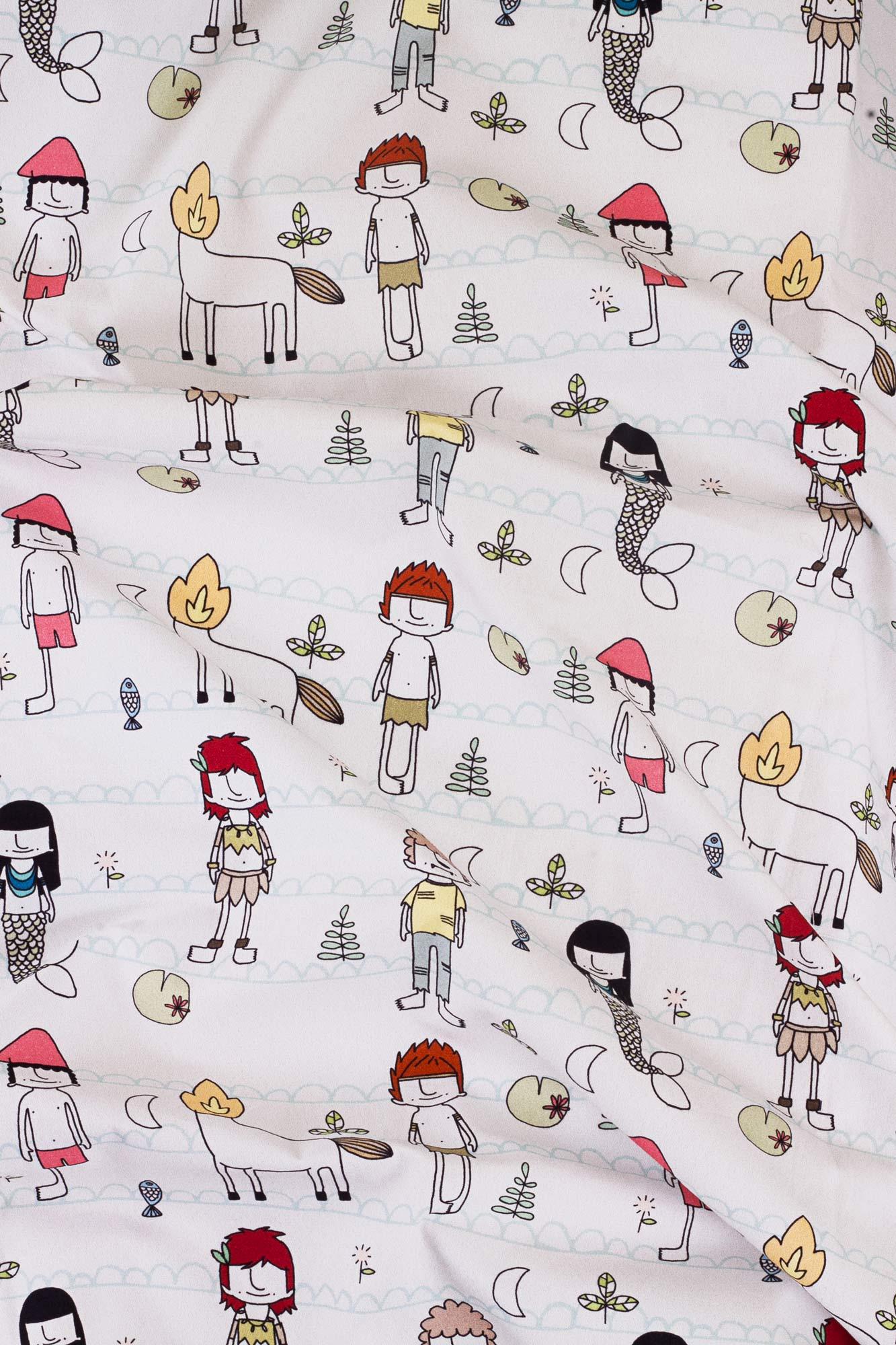 Kit trio berço Folclore Cor (fronha estampada + lençol de cobrir estampado + lençol de elástico branco) *nesse kit o lençol de elástico é GRÁTIS*